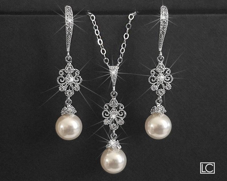 Wedding - Pearl Bridal Jewelry Set, Earrings&Necklace Jewelry Set, Swarovski 8mm White Pearl Wedding Set, Pearl Wedding Jewelry Set, Bridal Jewelry