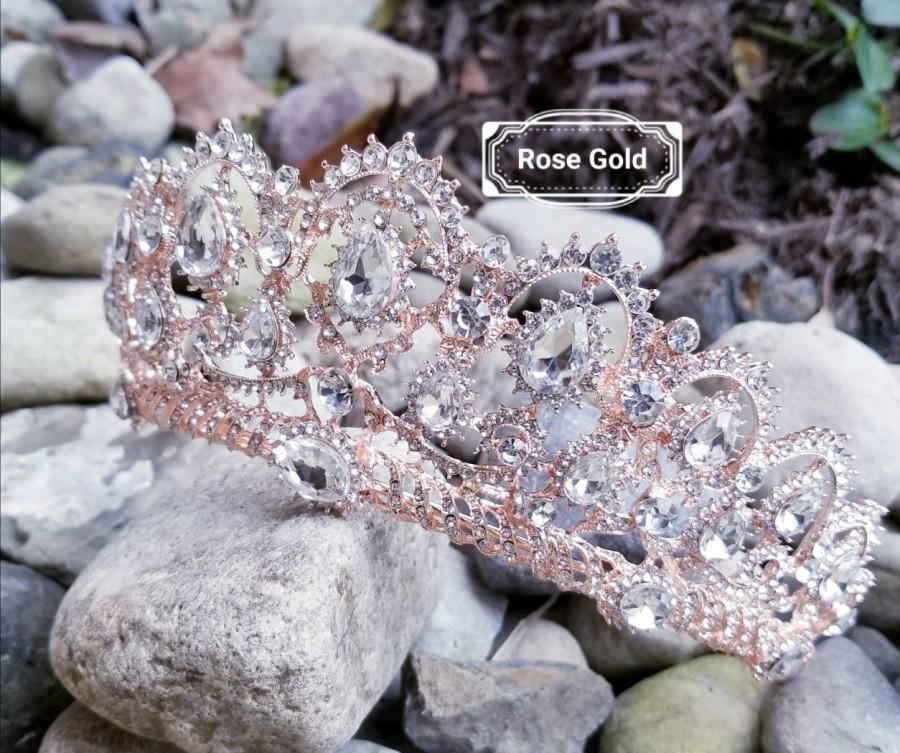 """Mariage - Ship Fast - 2.5"""" Rose Gold Tiara - Rose Gold High Tiara -  Rose Gold Crown - Sweet 16 Rose Gold Crown - Quince Crown Tiara Rose Gold"""