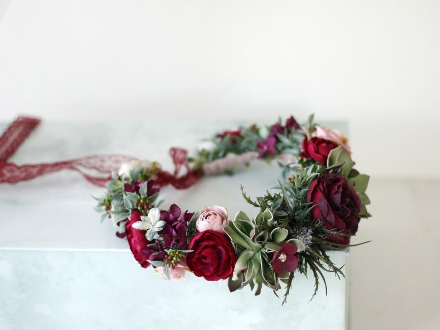 Wedding - Burgundy flower crown wedding, wild floral crown bride, deep red purple bridesmaid hair flower, floral headband maid of honor