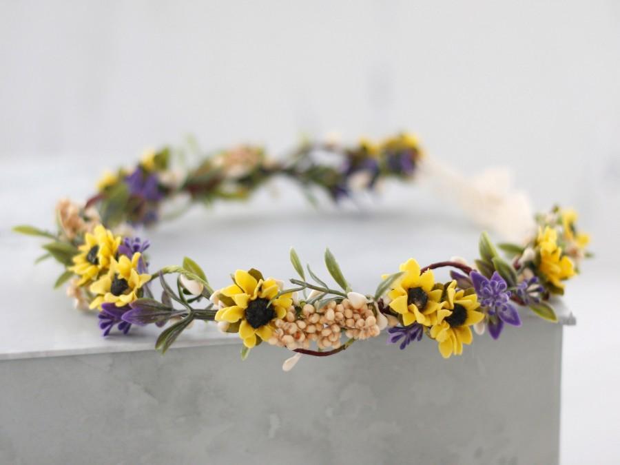 Mariage - Sunflower flower crown, sunflower lavender bridal headpiece, yellow flower crown, flower girl crown, sunflower halo