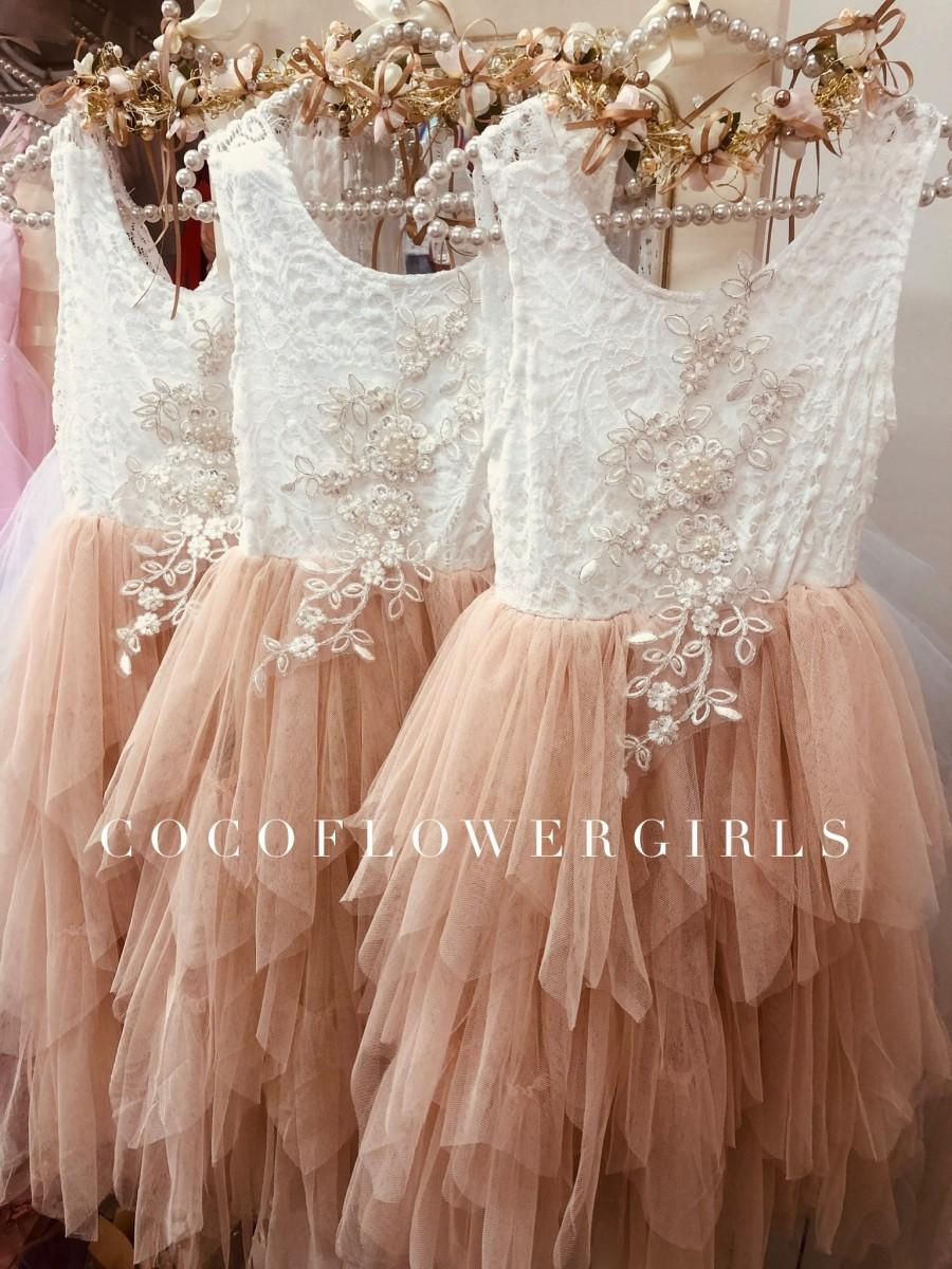 Wedding - Apricot Champagne Flower Girl Dress Very Pretty Bohemian Vintage with Applique - Over 3yrs with Pretty Gem Head Garland