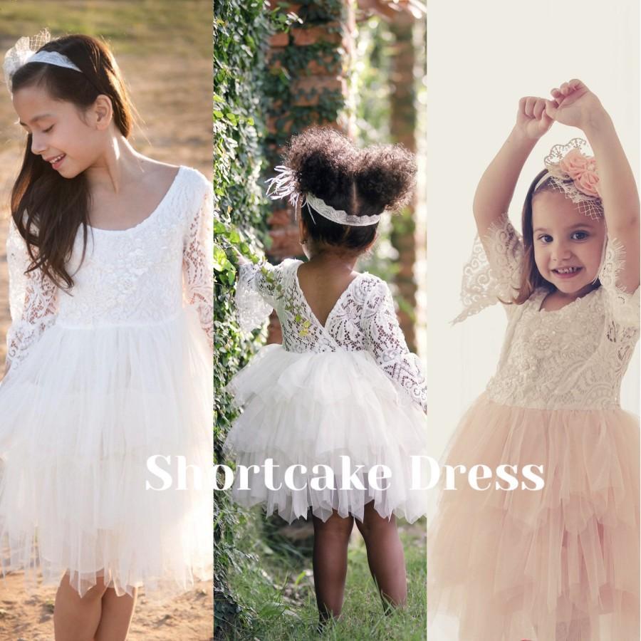Wedding - Ivory flower girl dress, lace flower girl dress, rustic flower girl dress, boho flower girl dress, flower girl dress