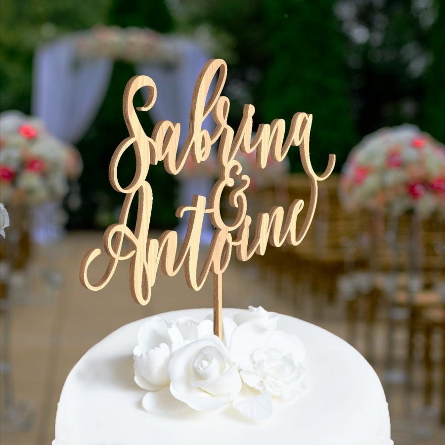 Mariage - cake topper mariage, cake topper mariage personnalisé, cake topper en bois, gâteau de mariage, décoration de gâteau de mariage 01