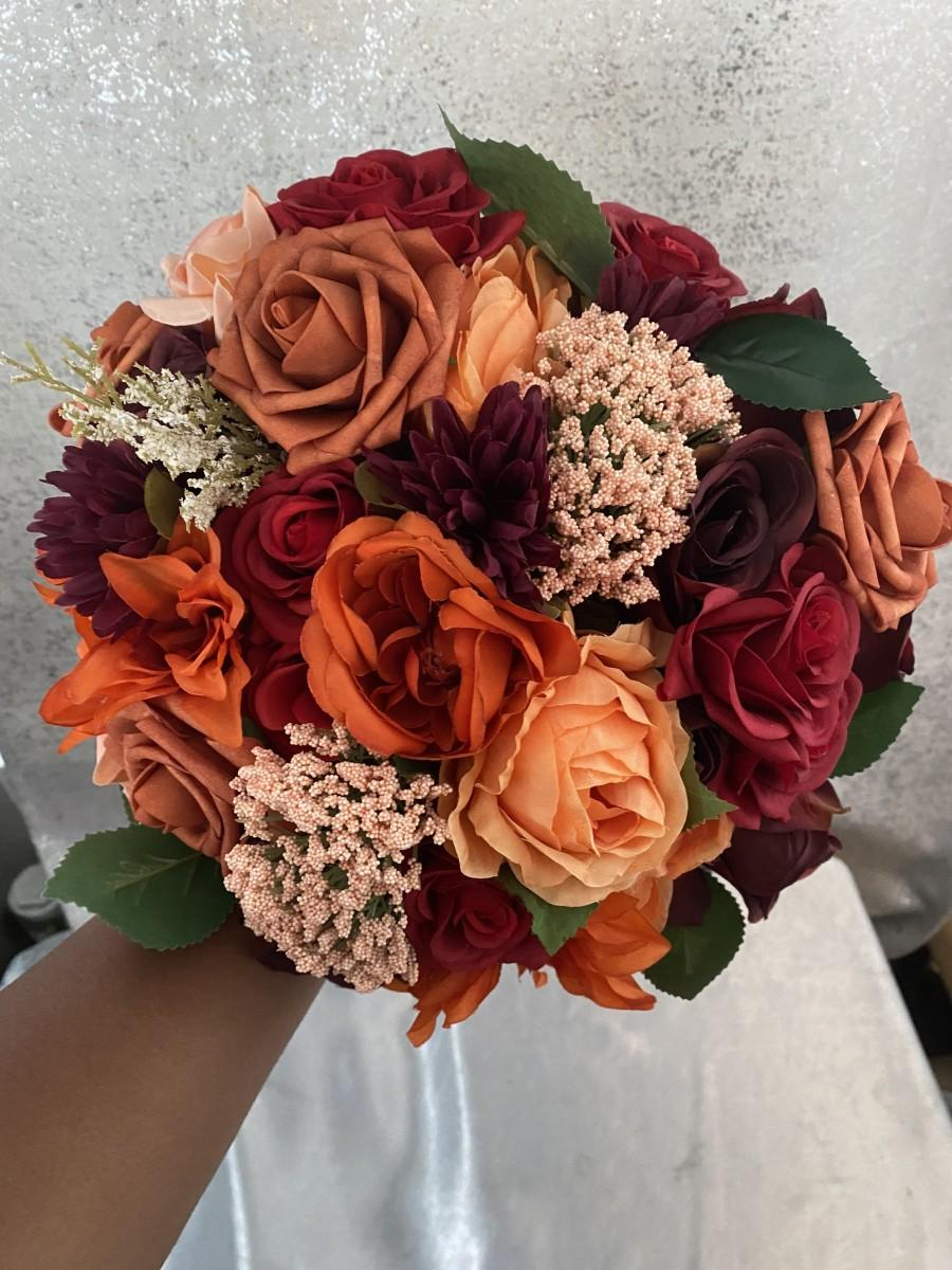 Wedding Bouquet Rustic Fall Bridal Bouquet Autumn Wedding Flowers Fall Bridesmaid Bouquets Boho Wedding Flowers Burgundy Orange Bouquet 2973200 Weddbook