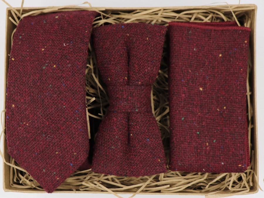 زفاف - PRINCE LOUIS:Burgundy Ties for Men Mens Gifts for Men Burgundy Tie Burgundy Bow Tie Wool Pocket Square Wedding Gifts for Husband Grooms Tie