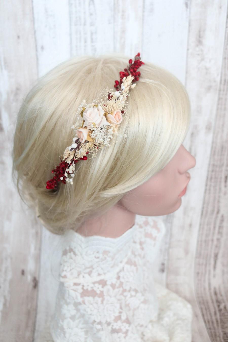 Mariage - LIA - flower hair wreath, wedding crown, headband, bridal side crown
