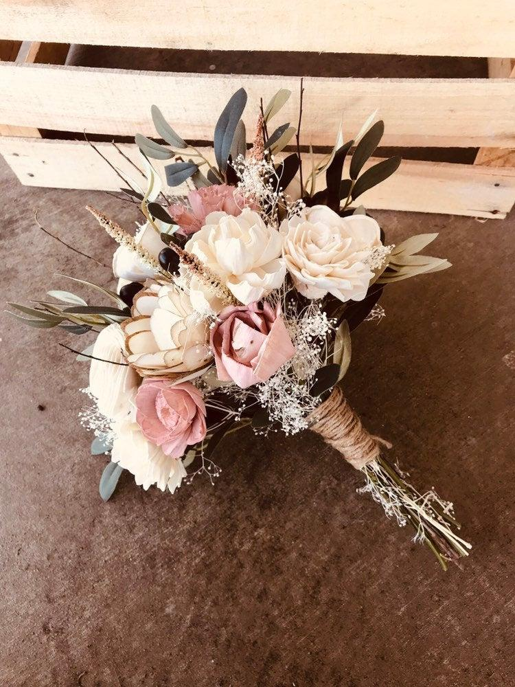 Wedding - LAURA'S COLLECTION ~ Sola Wood Flowers ~ Dusty Rose ~ Wood Flower ~ Forever Bouquet ~ Sola Wood Wedding ~ Pink ~ Ivory ~ Olive Branch