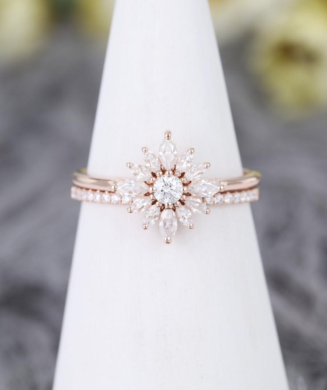 Wedding - Halo Moissanite engagement ring set vintage rose gold Marquise Flower Unique engagement ring  Bridal set Anniversary engagement ring set