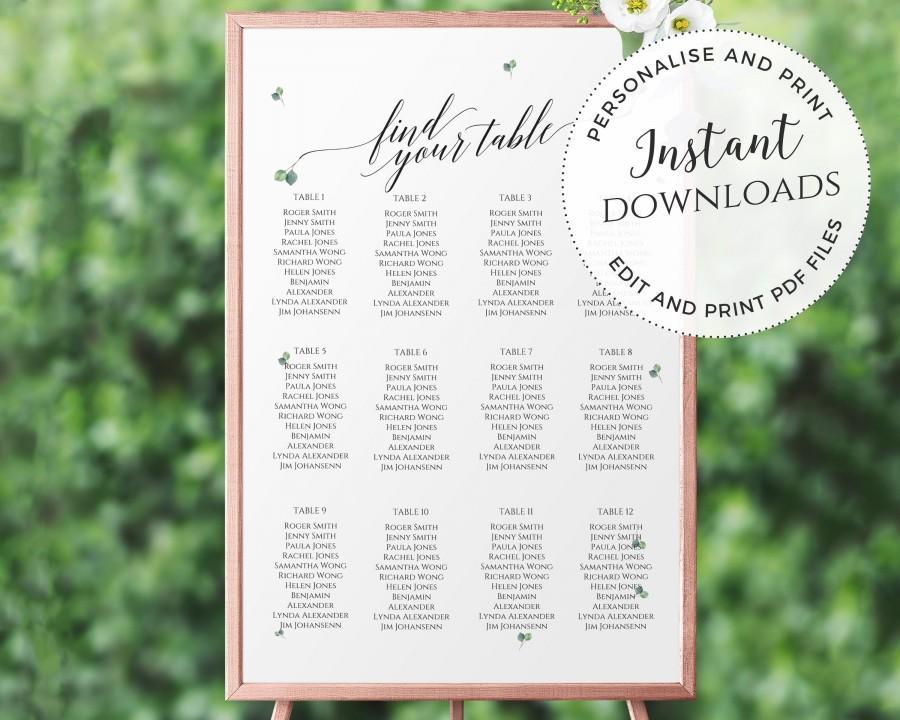 Свадьба - DIY Editable and Printable Wedding Table Seating Sign 24x36inch