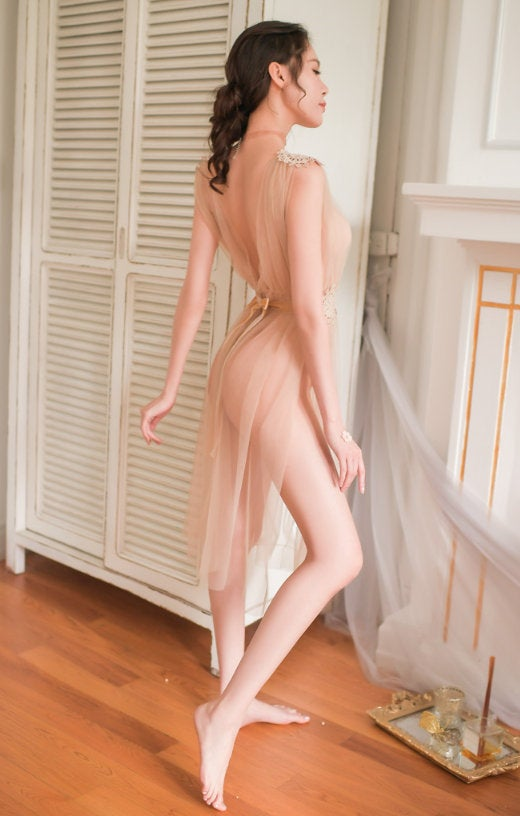 Mariage - Sheer Lingerie Dress, Bridal Erotic Nightgown