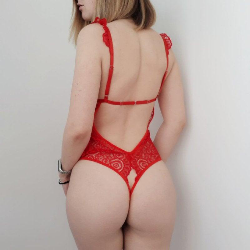 Mariage - CUSTOM SIZE! Crotchless Erotic Red lingerie bodysuit made of lace, Plus Size Lingerie, Sheer Lingerie, Crotchless Panties, Shelf bra