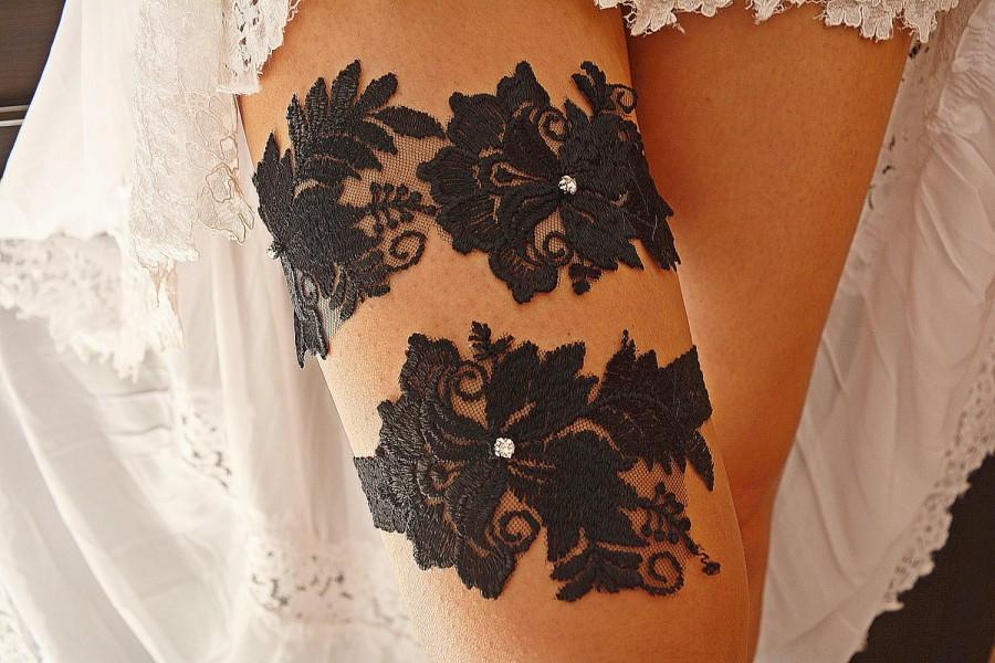Свадьба - Black Lace Goth Wedding Garter Set For Bride, Bridal Black Sexy Lingerie Garters sets For Wedding, Plus Size garters set, Garter Belt Black