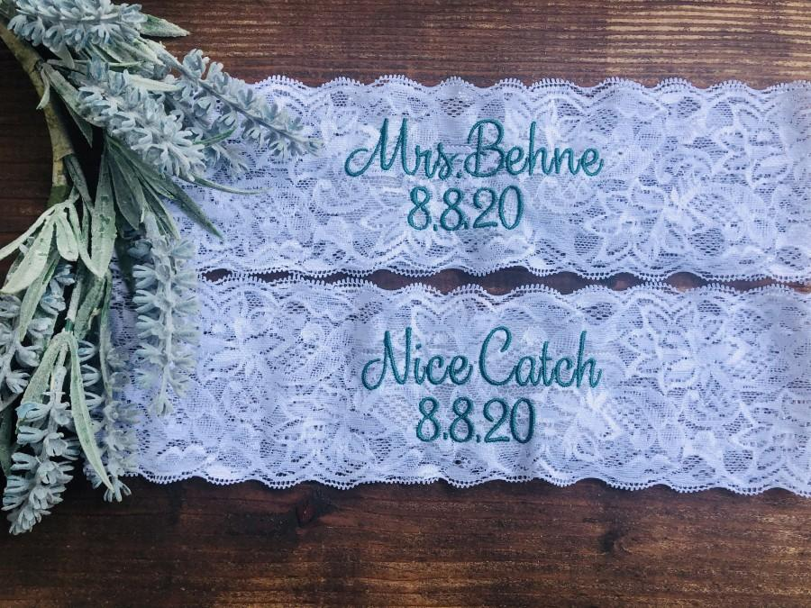 Mariage - Personalized Embroidered Mrs. Garter Wedding Date Garter Wedding and Toss Garters.  Something Blue! Nice Catch Garter/ You're Next