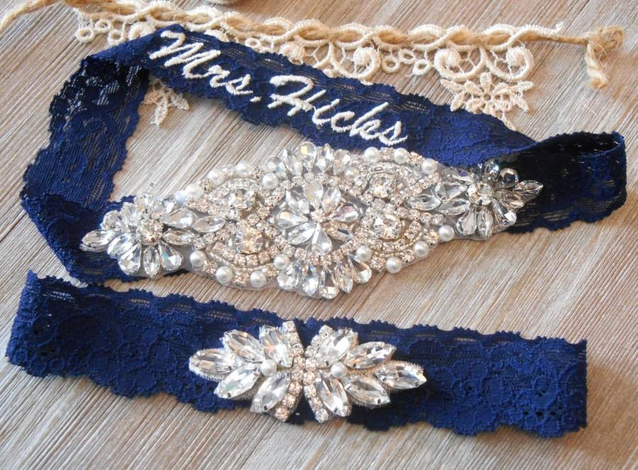 Mariage - NO SLIP Wedding Garter MONOGRAM Beautiful Silver or Rose Gold Rhinestone Piece Bridal Garter Floral Stretch Lace Bridal Garter Set