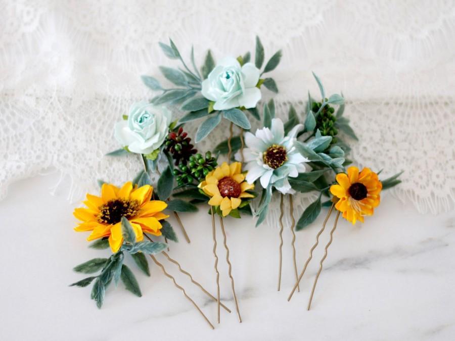 Sunflower Pins Sunflower Hair Pins Sunflower Bobby Pin Sunflower Wedding Floral Hair Pins Floral Wedding Floral Pins Flower Hair Pins