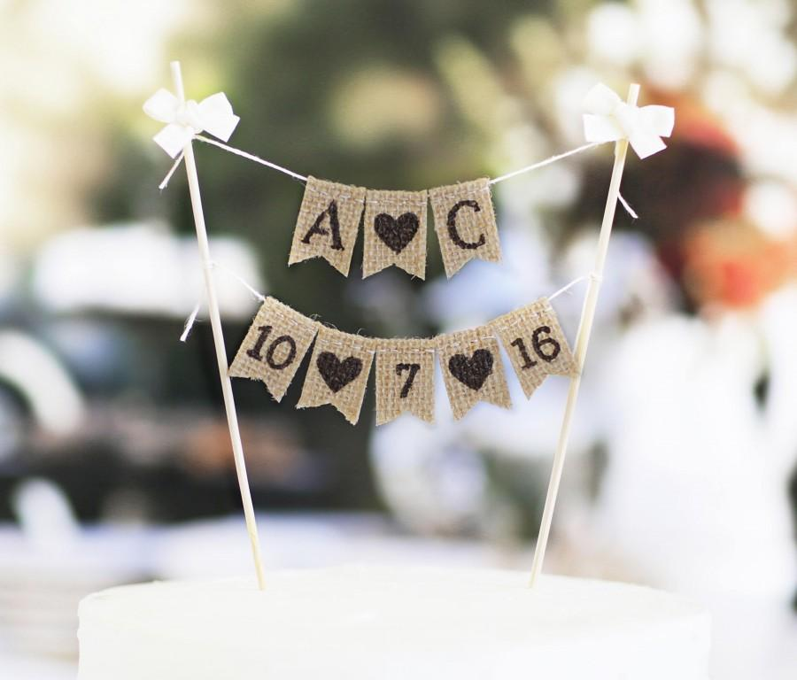 Mariage - Rustic Cake Topper,Wedding Cake Topper,Monogram Cake Toppers,Party Cake Topper,Rustic date Cake Topper,Personalized Cake Topper,wedding date