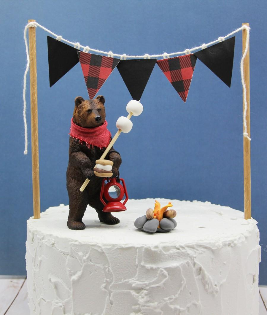 Свадьба - Grizzly Bear Cake Topper,  Camping Theme Party Bear, Happy Camper Birthday Party, Camping Birthday Bear