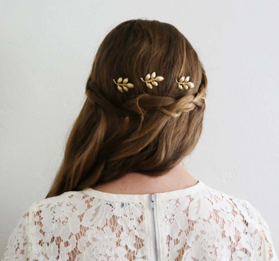 Wedding - Athena Gold Leaf Mini Combs -  Bridal or Special Occasion Boho Combs, crown, halo, hair piece, pins, hairpins, barrette, clip, wedding, hair