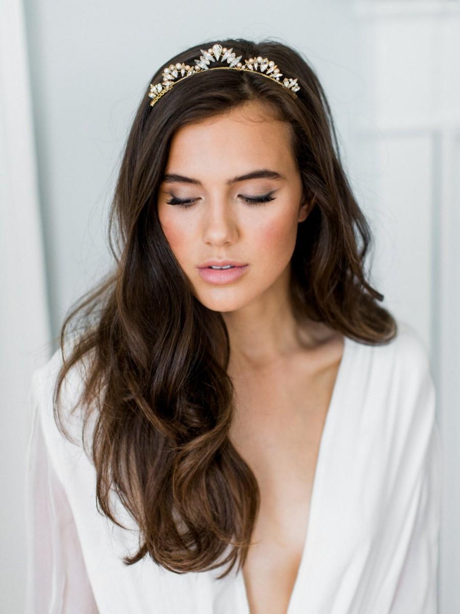 Wedding - LIA crystal pearl tiara bridal comb, glamorous delicate art deco wedding crown, glam vintage scalloped boho headpiece