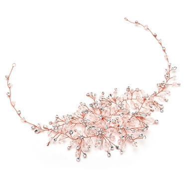 Wedding - Rose Gold Wedding Hair Vine with Lavish Crystals Sprays!  FREE DOMESTIC SHIPPING