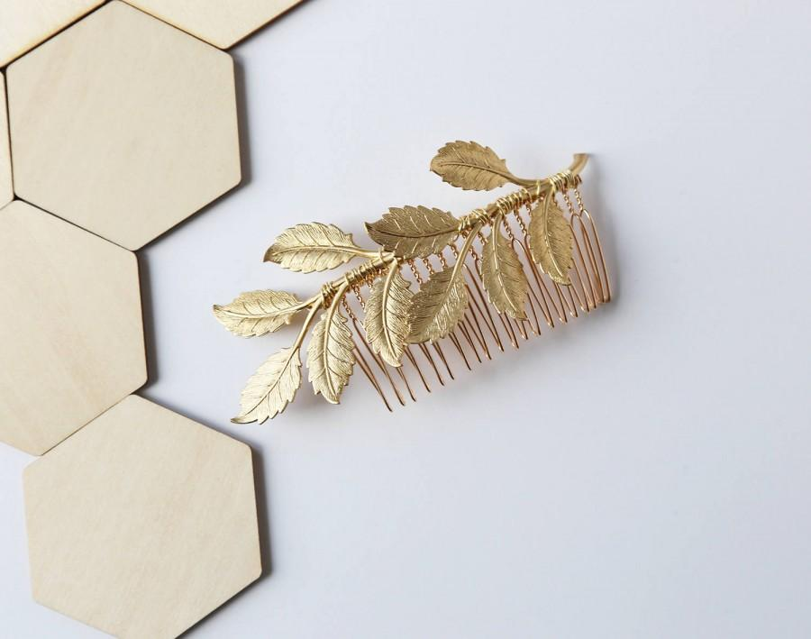 Wedding - Oversized Leaf Comb - Bridal Hair Accessories, Boho Wedding, leaves, Wedding Hair Accessories, hair piece, clip, barrette, under 30, Gold