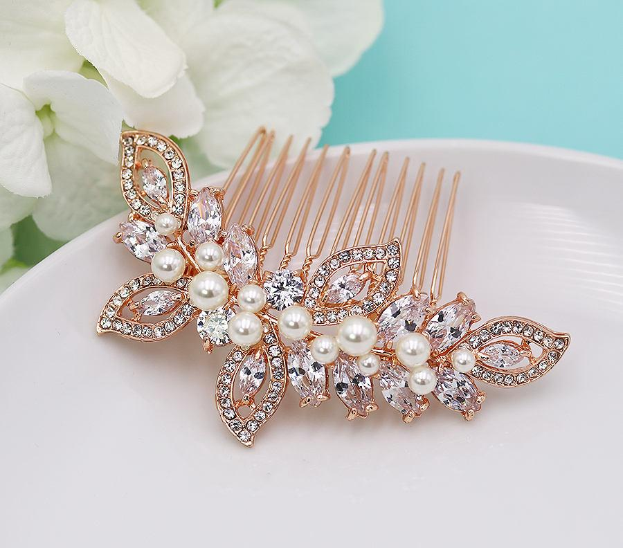 Wedding - Bridal Comb Rose Gold, Rhinestone Comb, Bridal Comb Crystal, Wedding Crystal Hair Comb, Hair Comb, Lauryn Wedding Headpiece Rose Gold