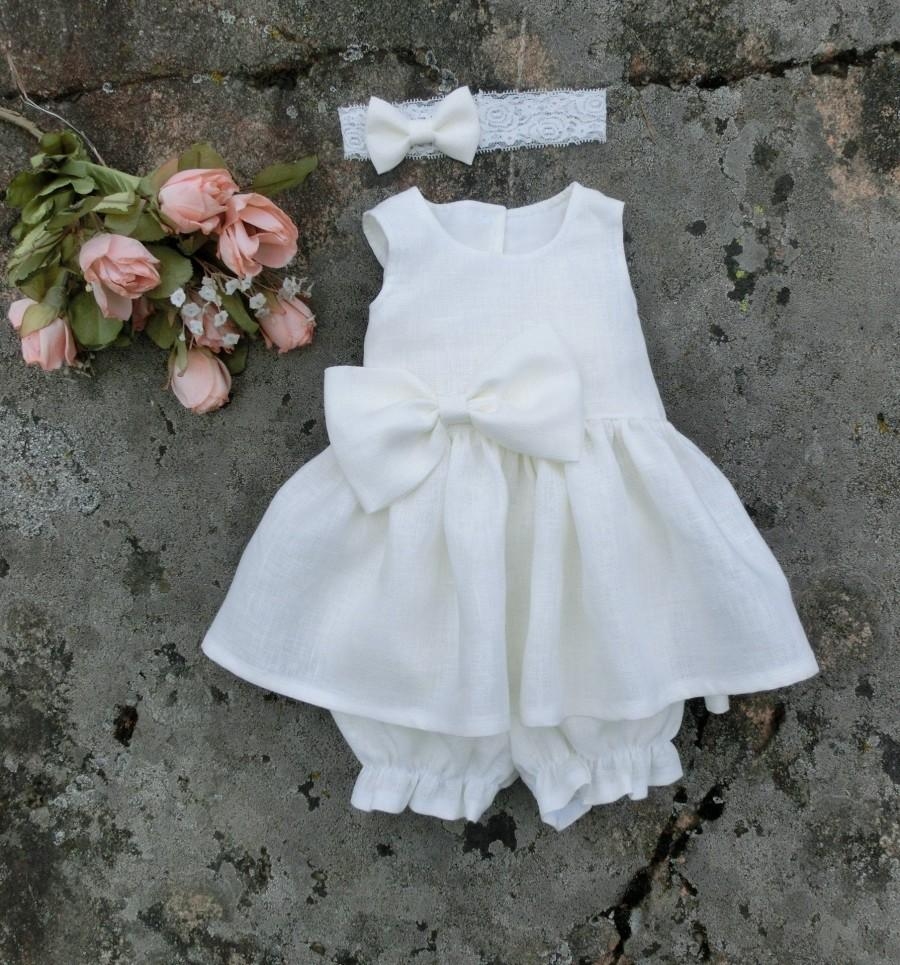 Wedding - Ivory baptism linen dress baby, Girls Christening outfit, Baby flower girl dress with bloomers and headband