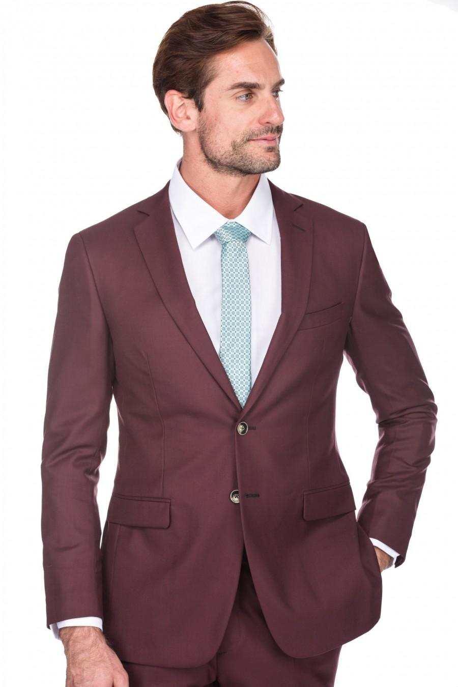 Wedding - Porto Filo Men's slim fit 2 pcs set suit,Burgundy color, wedding, party,jacket, pant,2 button,Single Breasted Vintage Suits