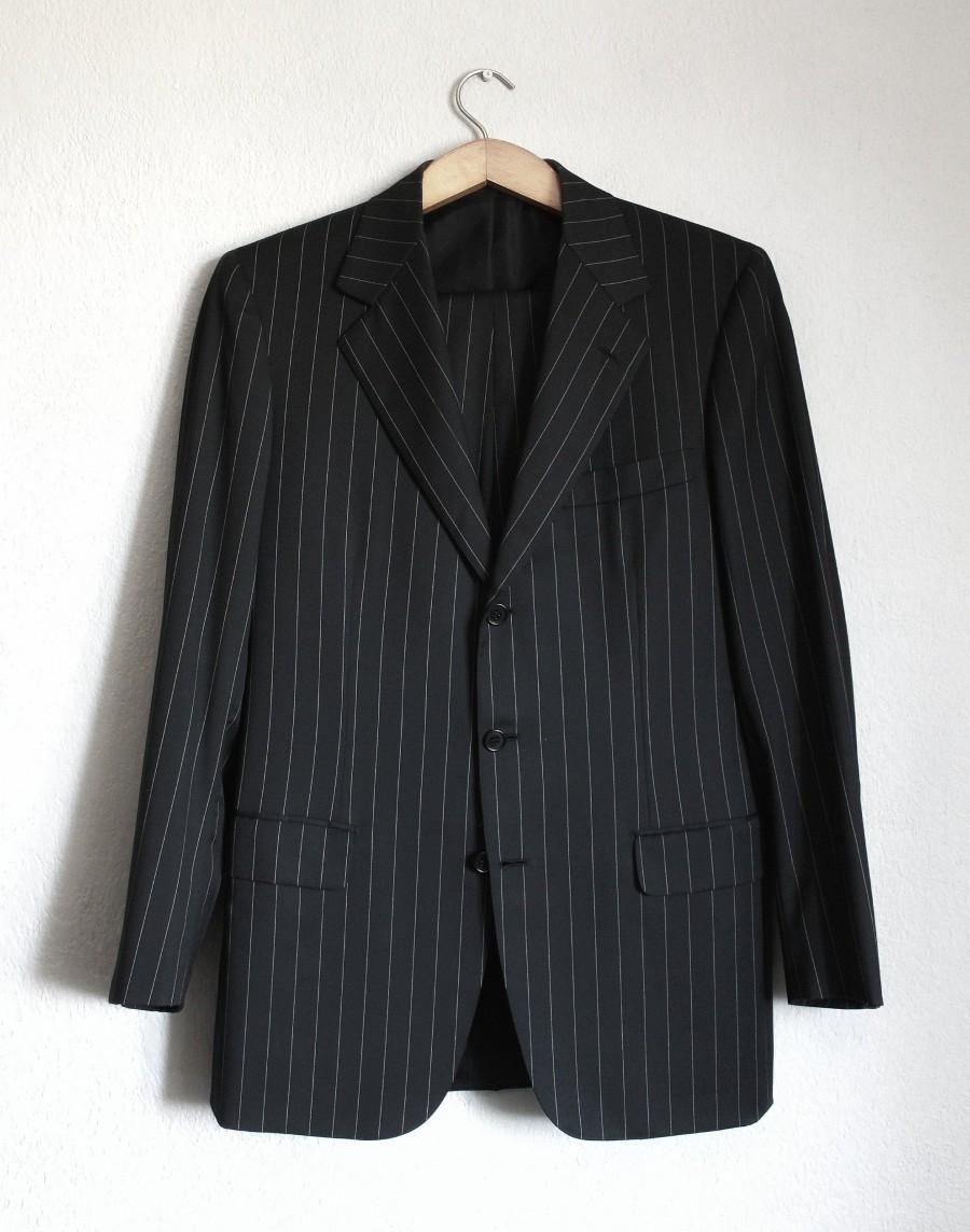 Hochzeit - BRIONI Palatino vintage wool black white striped suit