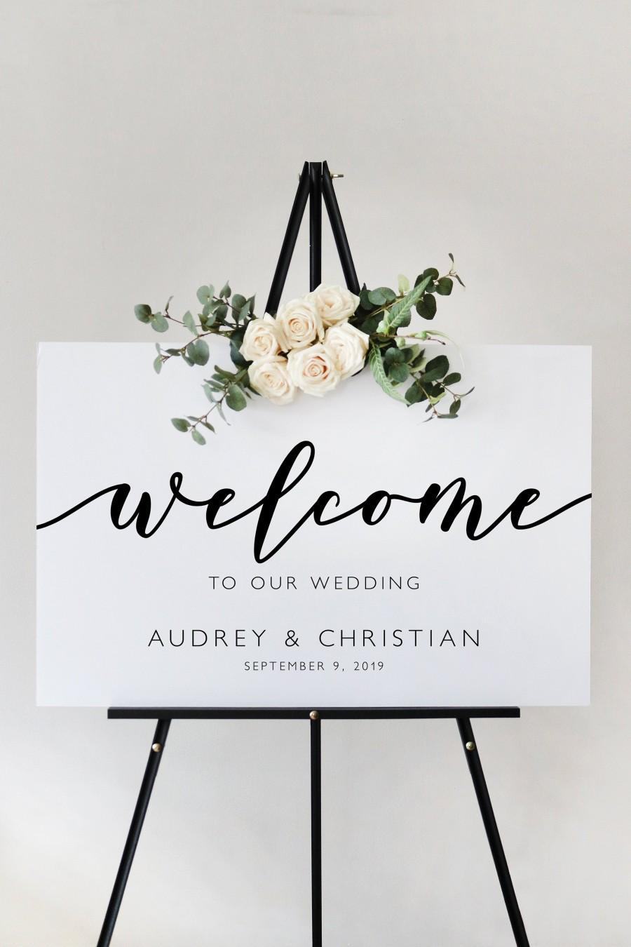 Hochzeit - Modern Script Wedding Welcome Sign Template, Ceremony Sign Reception Sign Printable, Instant Download, Editable and Customizable MR27 MRV27