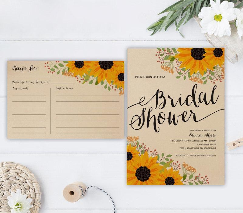 Hochzeit - PRINTED Sunflower bridal shower invitation with recipe card
