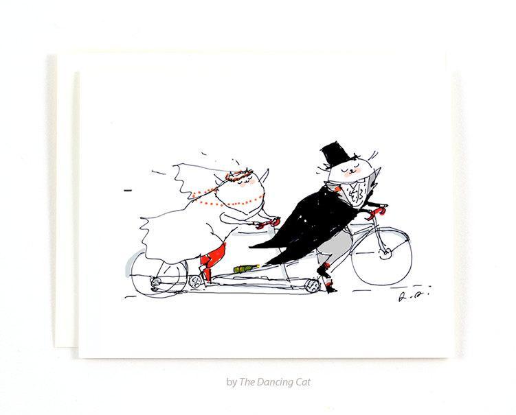 Wedding - Wedding Card - Bike Wedding - Cat Wedding Card - Funny Wedding Card - Tandem Bike Art