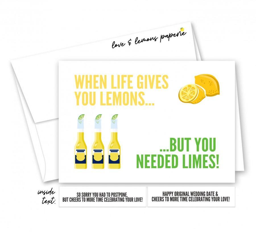 Wedding - When Life Gives You Lemons, Postponed/Quarantined/Cancelled Wedding, Corona Brides, Happy Original Wedding Date Greeting Card