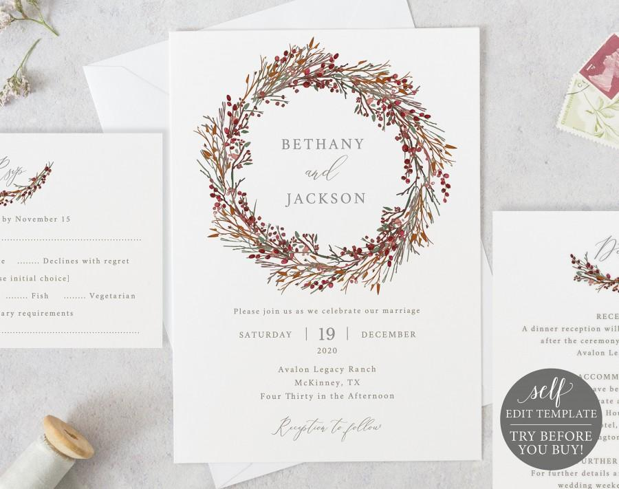 Wedding - Winter Wedding Invitation Template Set, TRY BEFORE You BUY, 100% Editable Invitation Printable, Instant Download