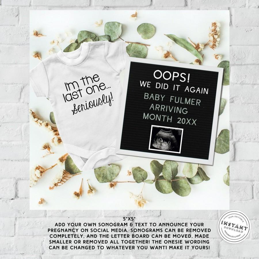 Wedding - Oops We Did it Again Neutral Pregnancy Announcement
