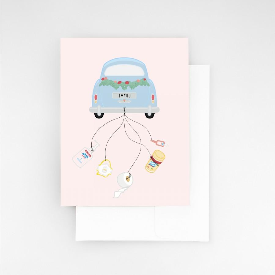Wedding - Just Married Car with Trailing Sanitizer Funny Wedding Card