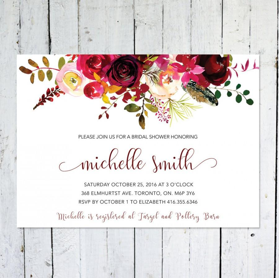Wedding - Fall Bridal Shower Invitation, Boho Bridal Shower Invitation, Maroon, Floral, Printable, Printed, Marsala, Burgundy, Feather