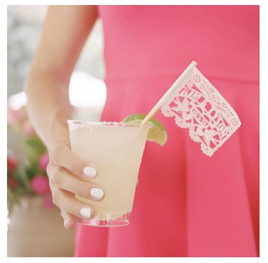 """Hochzeit - Cupcake topper or drink stirrer Laser cut Heart DRINK mini flags  (tiny 2"""" x 2"""" papel picado) tissue paper cocktail drink umbrella flag"""