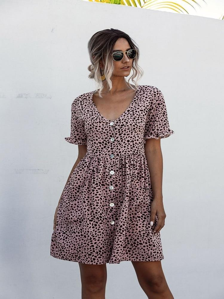 Wedding - 2020 Summer Dress Women Floral Printed Pleated Dress Butterfly Short Sleeve Casual Loose Mini Dress V-Neck Ladies Dress Clothes