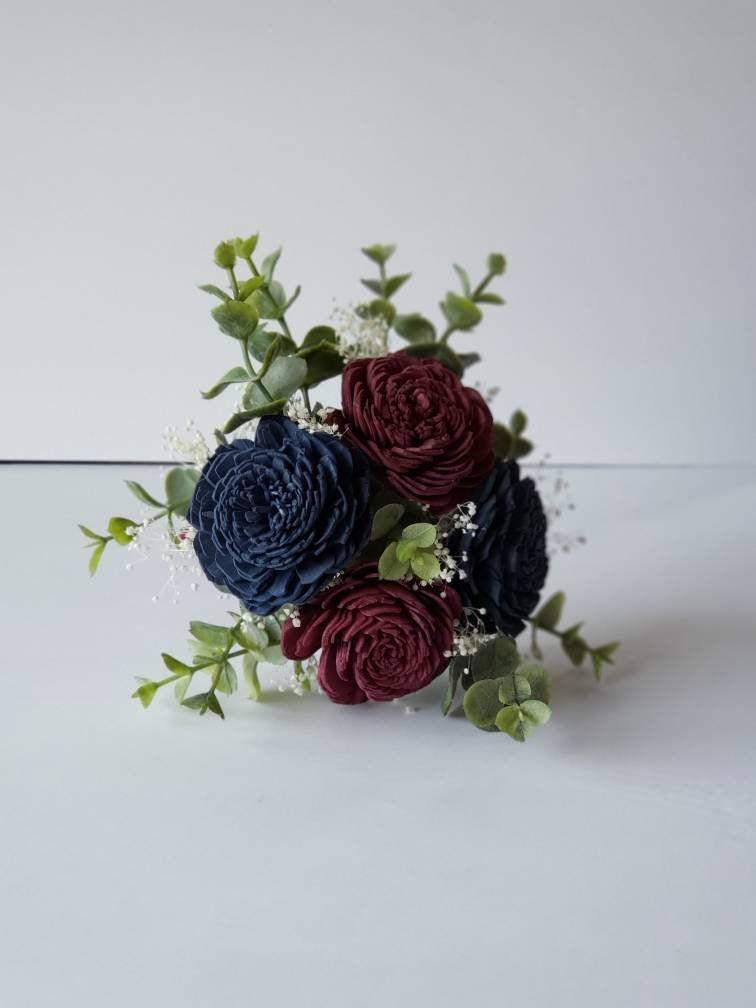 Mariage - Navy blue And Merlot Sola flower bouquet with frosted eucalyptus greenery. Flower girl bouquet, bridesmaid bouquet. Available in 12 colors
