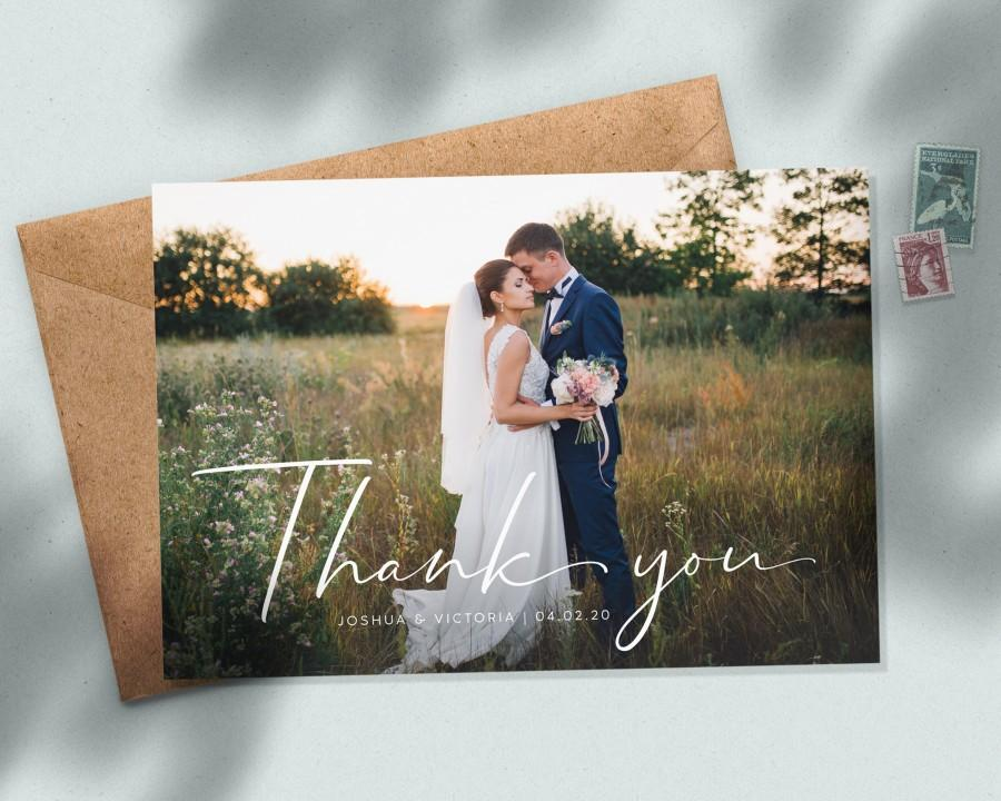 Wedding - Personalised Photo Postcard with Envelopes, Rustic Wedding Thank You Cards, Thank You Cards with Big Photo, Simple Wedding Thank You #085