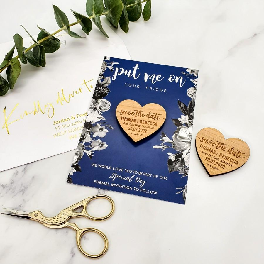 Wedding - Save the Date Magnet + Cards, Rustic Wedding Wood Heart, Personalised Wedding Invites Custom Save the Dates with Envelope / Navy Blue Floral