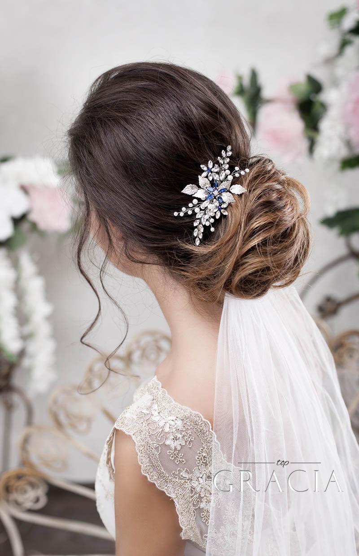 Свадьба - Blue bridal hair comb Something blue hair comb Sapphire blue Crystal hair comb Royal blue wedding Rhinestone hair comb Navy blue hair piece