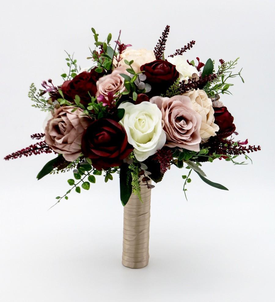 Mariage - Wedding Bouquet, Bridal Bouquet, Mauve, Dusty Rose Wine Bouquet, Artificial Flower Bouquet, Boho Bouquet, Wedding Flowers, Large Bouquet