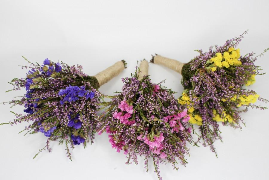 Mariage - Dried heather flower bouquet, Colorful dried flower bouquet, Rustic wedding dried flower arrangement, Rustic wedding flower arrangement