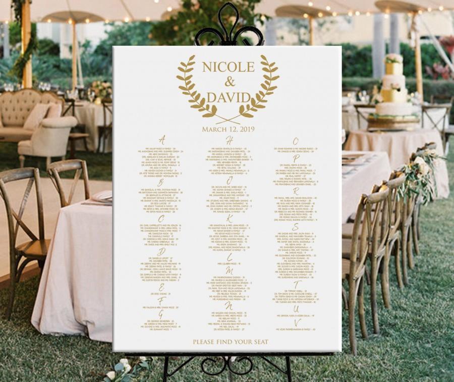 Mariage - Alphabetical wedding seating chart, alphabetical printable seating plan gold seating chart DIGITAL, wedding or baby shower seating chart