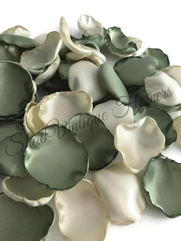 Wedding - Sage green and ivory flower petals, fern green rose petals, table decor, flower girl petals, alternative wedding