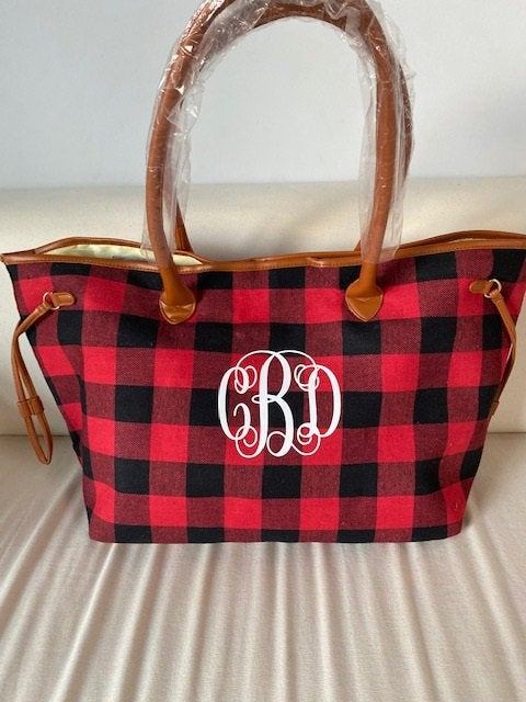 Mariage - Monogrammed Buffalo Plaid Bag, Monogram Tote Bag ,Personalized Bag,Buffalo Check Overnight Travel Bag, Monogram Bags