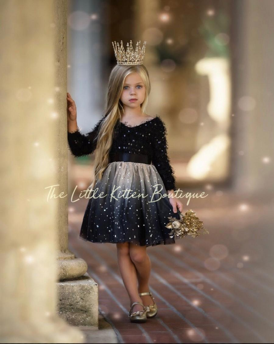 Wedding - tulle flower girl dress, rustic lace flower girl dresses, girls holiday dress, black flower girl dress, ivory flower girl dress, gold dress
