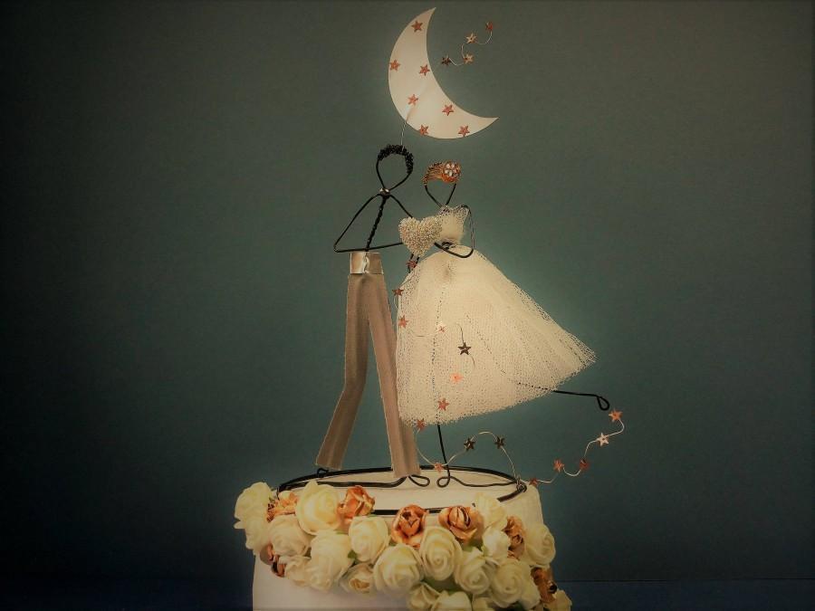 Wedding - Custom wedding cake topper, Wire cake topper figurine, Wedding decoration, Personalized cake topper, Bride and groom cake topper, Cake decor